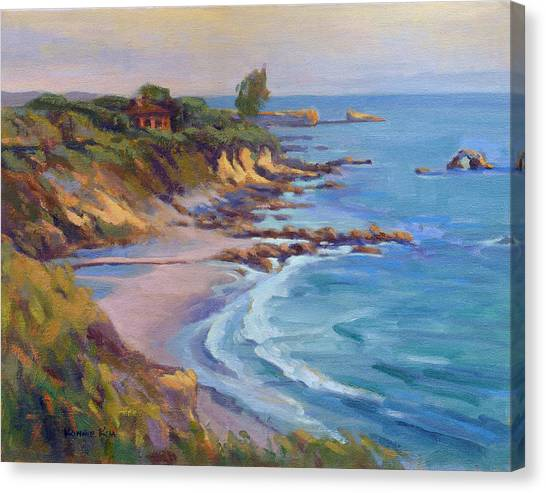 Canvas Print featuring the painting Golden Hour At Corona Del Mar by Konnie Kim