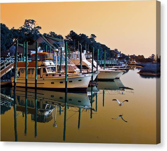 Golden Hour At The Marshwalk Canvas Print