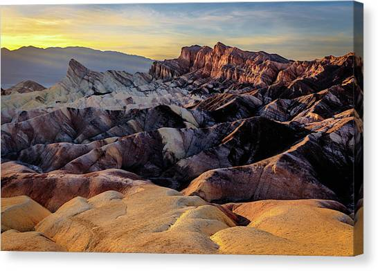 Golden Hour Light On Zabriskie Point Canvas Print