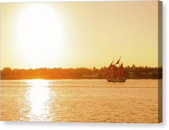 Golden Hour Sailing Ship Canvas Print