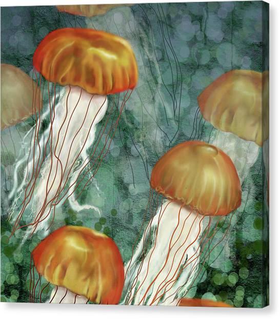 Golden Jellyfish In Green Sea Canvas Print
