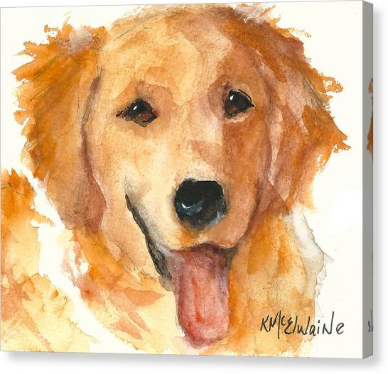 Golden Retriever Watercolor Painting By Kmcelwaine Canvas Print