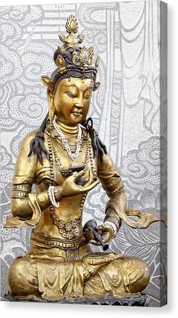 Golden Kuan Yin Canvas Print