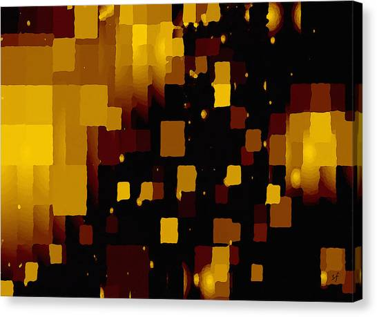 Canvas Print featuring the digital art Golden Light And Dark  by Shelli Fitzpatrick