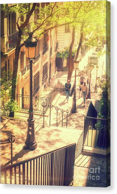 Parisian Canvas Print - Golden Light In Montmartre, Paris by Delphimages Photo Creations