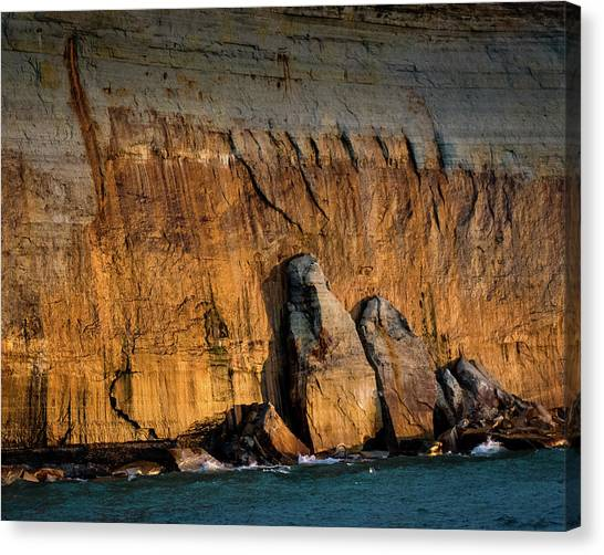 Golden Light On The Pictured Rocks. Canvas Print