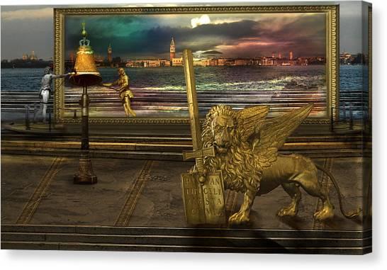 Golden Lion From Alternative Earth Canvas Print by Desislava Draganova