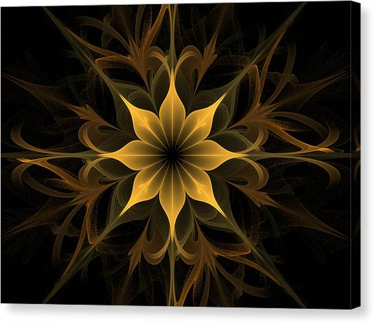 Golden Lotus Swirls Canvas Print
