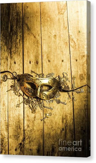 Masquerade Canvas Print - Golden Masquerade Mask With Keys by Jorgo Photography - Wall Art Gallery