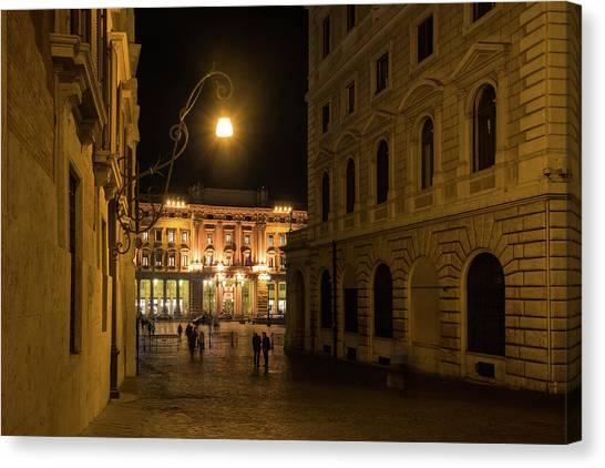 Midnite Canvas Print - Golden Midnight - Night Walk In Rome Italy by Georgia Mizuleva