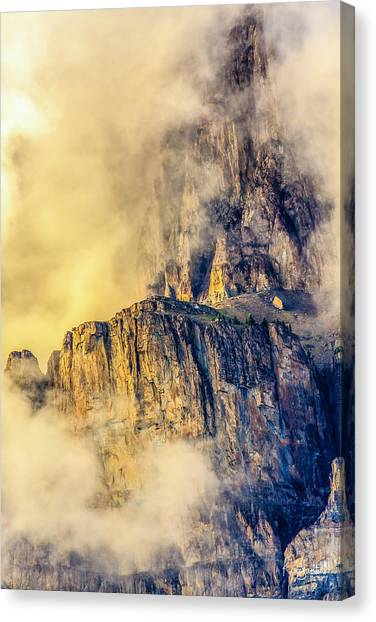 Golden Mist On Cathedral Mountain Canvas Print