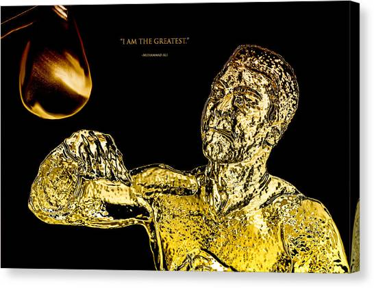 Joe Frazier Canvas Print - Golden Muhammad Ali  by Brian Reaves