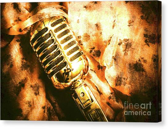 Microphones Canvas Print - Golden Oldies Art by Jorgo Photography - Wall Art Gallery