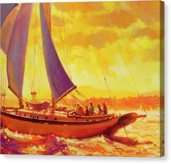 Sailboats Canvas Print - Golden Opportunity by Steve Henderson