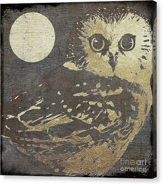 Large Birds Canvas Print - Golden Owl by Mindy Sommers