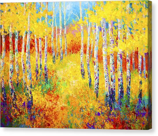 Poplar Canvas Print - Golden Path by Marion Rose