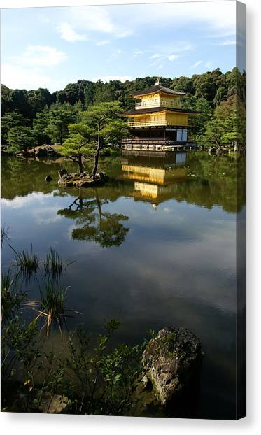 Golden Pavilion In Kyoto Canvas Print by Jessica Rose