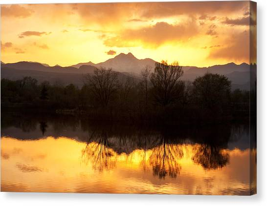 Mountain Sunsets Canvas Print - Golden Ponds Longmont Colorado by James BO  Insogna
