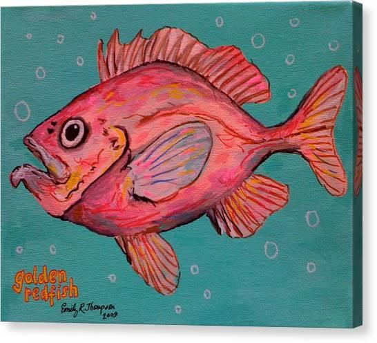 Golden Redfish Canvas Print by Emily Reynolds Thompson