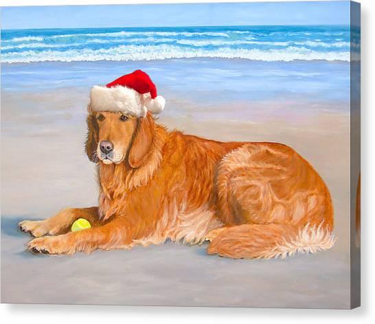 Golden Retreiver Holiday Card Canvas Print