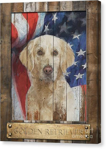 Golden Retriever Flag Poster Canvas Print by Tim Wemple