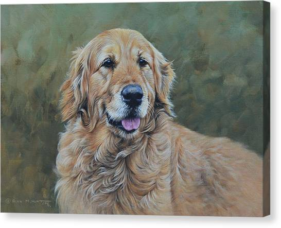 Canvas Print featuring the painting Golden Retriever Portrait by Alan M Hunt