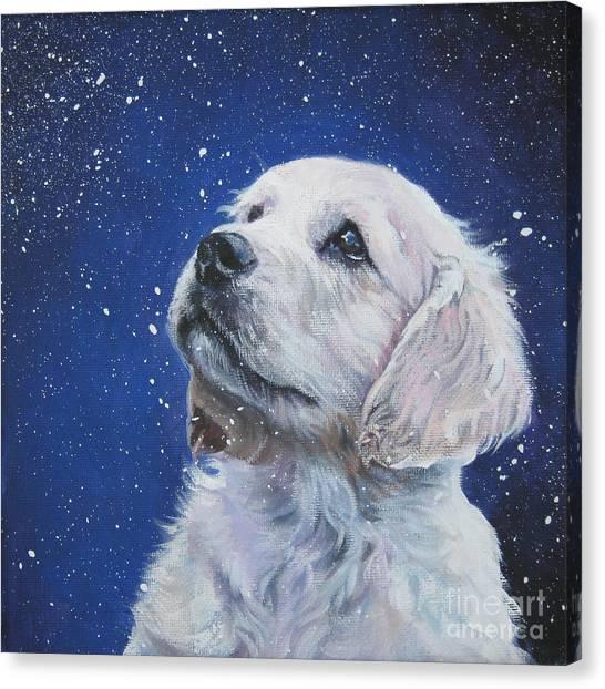Golden Retriever Pup In Snow Canvas Print