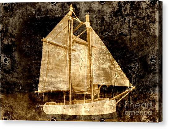 Canvas Print featuring the photograph Golden Sailboat by Michael Moriarty