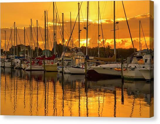 Golden Sailboat Sunrise Over Stuart Marina, Florida Canvas Print