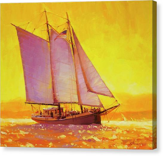 Sailboats Canvas Print - Golden Sea by Steve Henderson