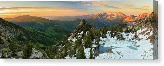 June Lake Canvas Print - Golden Silver Glance Lake Panorama. by Johnny Adolphson