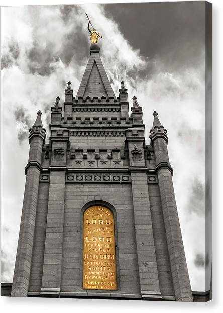 Mormon Canvas Print - Golden Slc Temple by La Rae  Roberts