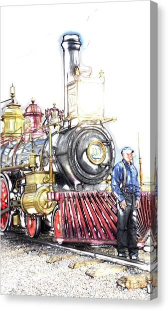 Pacific Division Canvas Print - Golden Spike Railroad - The Conductor - 0725 F by Image Takers Photography LLC - Laura Morgan