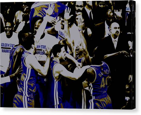 Three Pointer Canvas Print - Golden State Warriors 2015 Finals by Brian Reaves