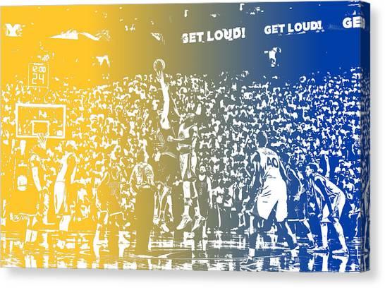 Golden State Warriors Canvas Print - Golden State Warriors Team Pixel Art 2 by Joe Hamilton
