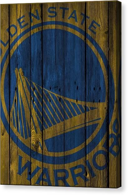 Basketball Teams Canvas Print - Golden State Warriors Wood Fence by Joe Hamilton