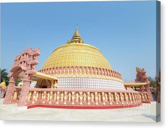 Temple University Canvas Print - Golden Stupa At Sitagu International Buddhist Academy In Sagaing by Roberto Morgenthaler