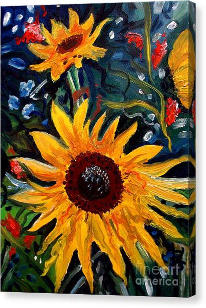 Golden Sunflower Burst Canvas Print
