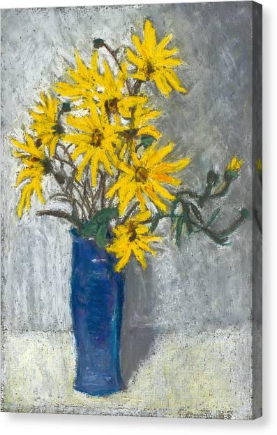 Golden Sunflowers In Blue Vase Canvas Print by Judy Adamson