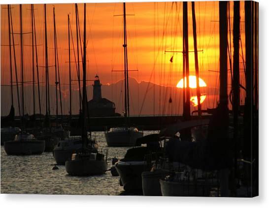 Golden Sunrise On Monroe Harbor Canvas Print by Gregory Jeffries