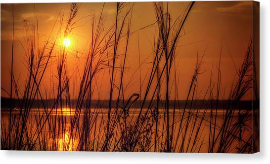 Golden Sunset At The Lake Canvas Print