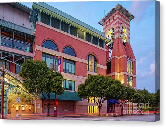 Golden Sunset Glow On The Facade Of Minute Maid Park - Downtown Houston Harris County Texas Canvas Print