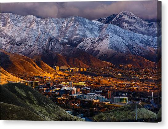 University Of Utah Canvas Print - Golden Sunset  by Jason Shepherd