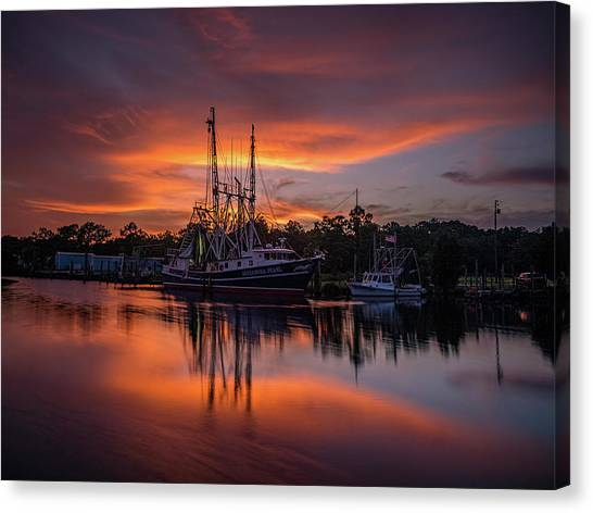 Golden Sunset On The Bayou Canvas Print
