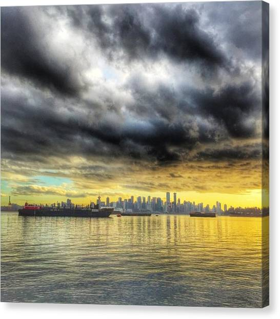 Vancouver Skyline Canvas Print - Golden #sunset #vancity #view by Evgeny Demin