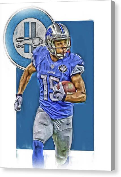 Detroit Lions Canvas Print - Golden Tate Detroit Lions Oil Art by Joe Hamilton