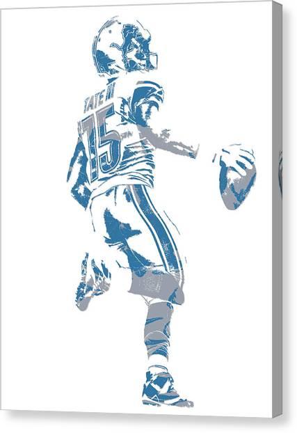 Detroit Lions Canvas Print - Golden Tate Detroit Lions Pixel Art 1 by Joe Hamilton