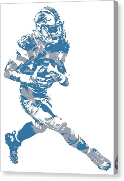 Detroit Lions Canvas Print - Golden Tate Detroit Lions Pixel Art 2 by Joe Hamilton