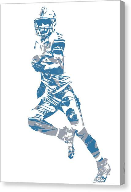 Detroit Lions Canvas Print - Golden Tate Detroit Lions Pixel Art 3 by Joe Hamilton