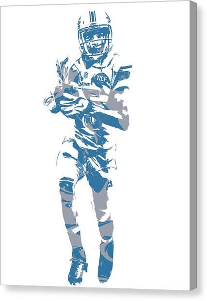 Detroit Lions Canvas Print - Golden Tate Detroit Lions Pixel Art 4 by Joe Hamilton